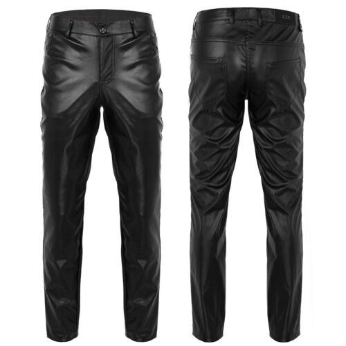 Men Pencil Pants Wet Look  Motorcycle Trousers Skinny long Legging Punk Clubwear