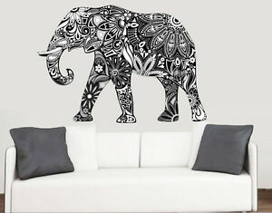 decorative patterned elephant wall art vinyl stickers african animal