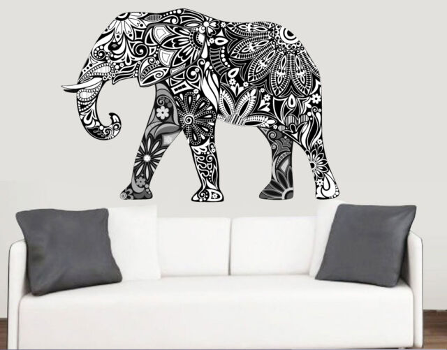 Decorative Patterned Elephant Wall Art Vinyl Stickers African Animal Mural  Decal