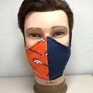 Broncos Fabric Face Mask For Men With Filter Pocket Cotton Same Day Shipping Ebay