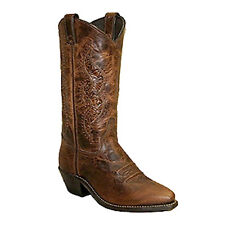 Abilene Ladies Brown Cowhide w/ Tooled Inserts Western Boots - 9141 - Size 6.5