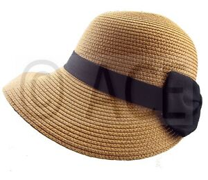 Womens Straw Summer Hats Ladies Wide Brim Stylish Black Bow Detail ... 10e637a609c