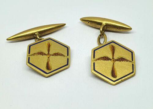 Antique 18kt Gold Hexagon Cufflinks with Enamel