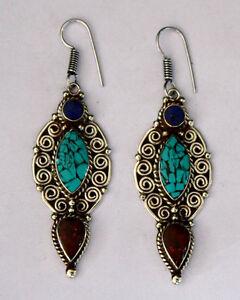 Ethnic-handmade-classic-hook-sterling-silver-earrings-tops-turquoise-ER16