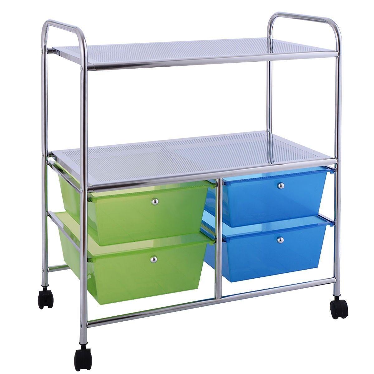 4 Drawers Rolling Plastic Storage Cart Shelf Tiers Organizer Wheel Basket Steel