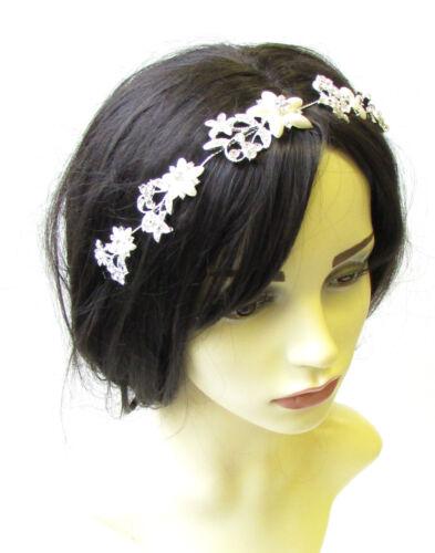 Silver Ivory Pearl Flower Hair Vine Bridal Headpiece Headband Diamante Vtg 1449