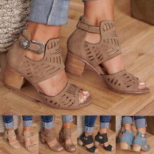 Women-Ladies-Hollow-Peep-Toe-High-Heels-Sandals-Square-Heel-Shoes-Size-4-5-11-SH