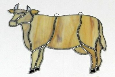 Stained Glass Cow Sun Catcher Steer Vintage