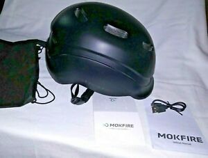 MOKFIRE Bike Helmet w// Rechargeable USB Light//Thick EPS Foam Black New