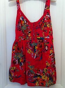 Marks-amp-Spencers-Pure-Cotton-Pink-Floral-Strappy-Top-With-Ties-Size-14-New