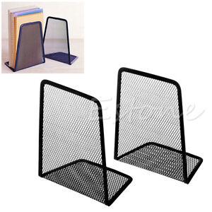 1-Pair-Metal-Mesh-Black-Desk-Organizer-Desktop-Office-Home-Bookends-Book-Holder