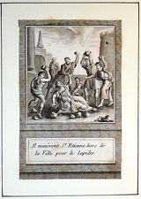 Gravure Etching Kupferstich Bible Ancien Testament St Etienne lapidé hors Ville