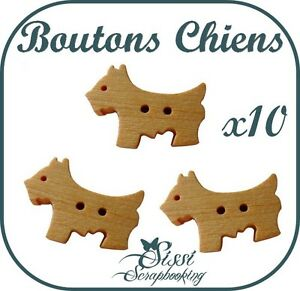 LOT-10-BOUTON-EN-BOIS-CHIEN-ANIMAL-SCRAPBOOKING-LAYETTE
