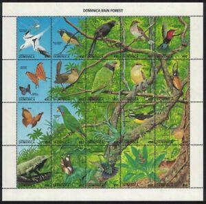 Dominica-Aves-La-Selva-flora-y-fauna-20v-Sheetlet-estampillada-sin-montar-o-nunca-montada-SG-1129