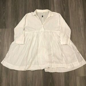 HD-In-Paris-Anthropologie-Womens-Size-08-White-Tunic-Top-1-Button-Blouse-Cotton