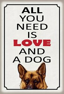 All You Need Is Love And Dog Tin Sign Shield Metal 20 X 30 CM FA1384