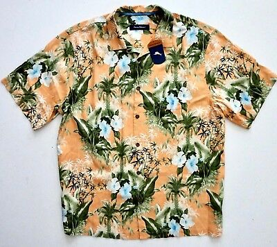 Tommy Bahama Corfu Jungle 100/% Silk Camp Shirt Mens XLT NWT $148 Satsuma Floral