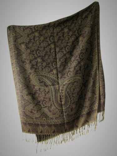 Festliche Jacquard Schal Umschlagtuch Schultertuch mit Fransen  dunkelgrün braun