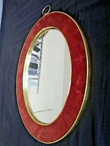 Pratique Ancien Miroir Ovale MÉtal Dore Marge Feutrine Rouge Vintage 60 70 S