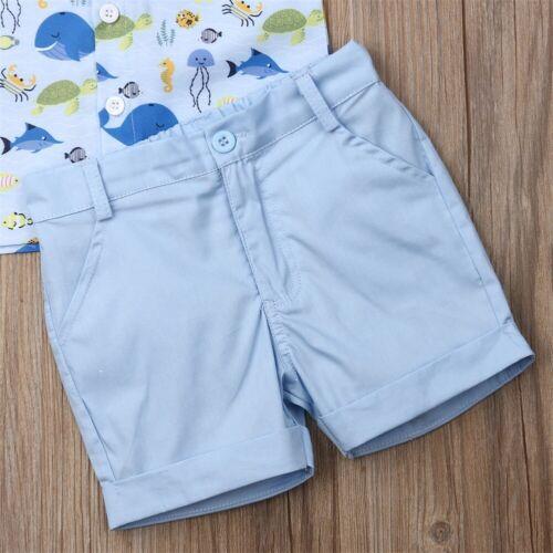 NWT Ocean Sea Animals Boys Short Sleeve Button Shirt /& Shorts Outfit Set