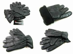 Mens Premium Super Soft Thinsulate Fleece Lined Black Real Leather Gloves Winter