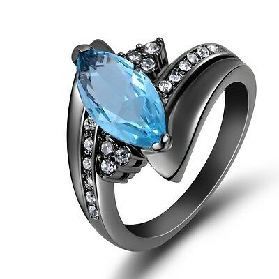 Jewelry Size 6-9 Aquamarine Engagement Black Gold Filled Woman Fashion Ring Gift