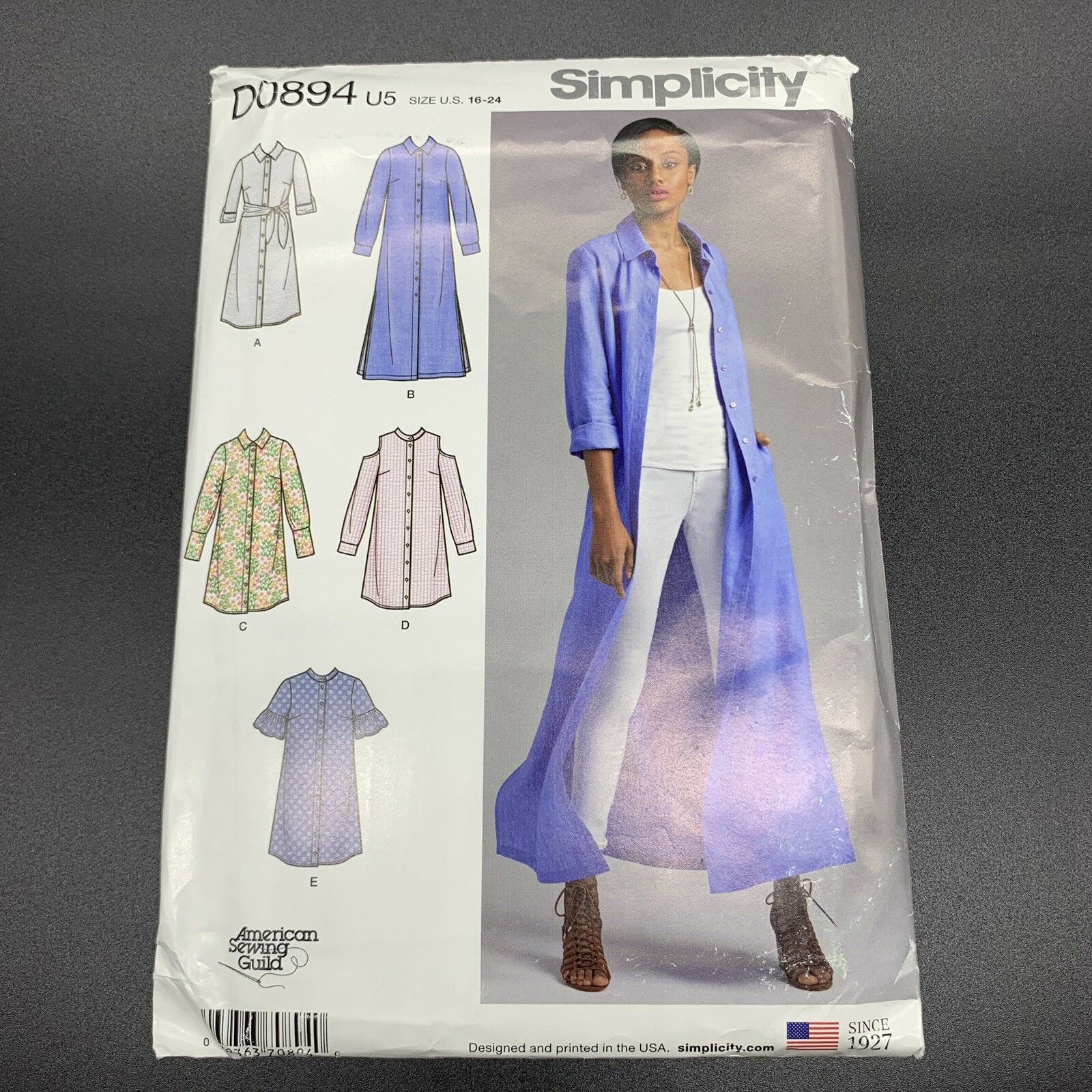 Petite Shirt Dress or Duster Sewing Pattern Simplicity 8546 Plus Sizes 16-24
