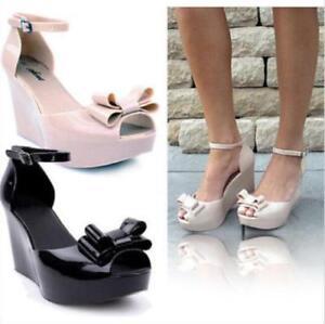Women-Summer-Jelly-Wedge-High-Heels-Sandals-Open-Toe-Bowknot-Platform-Shoes
