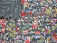 KANTHA QUILT QUILTS BLANKET COTTON HANDMADE BED SPREADS KING SIZE  90X108 INCH.