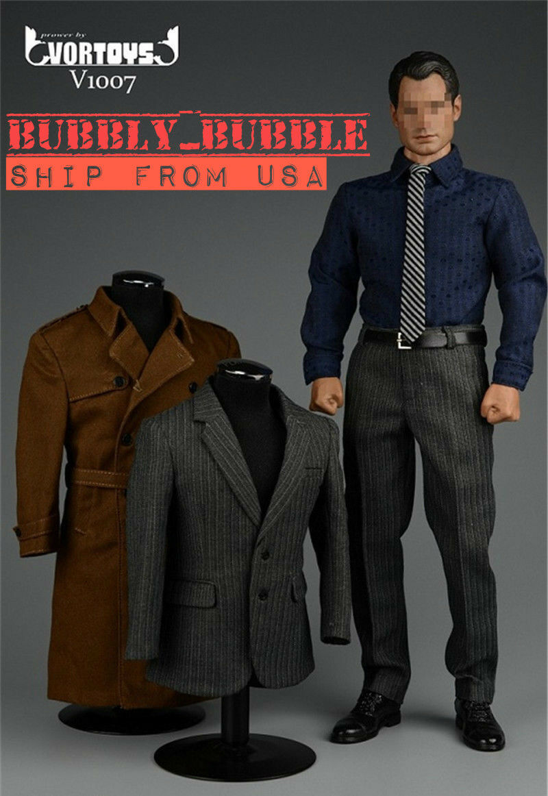 1 6 Trench Coat Suit For SUPERMAN Clark Kent Ganghood MUSCULAR Hot Toys Body USA