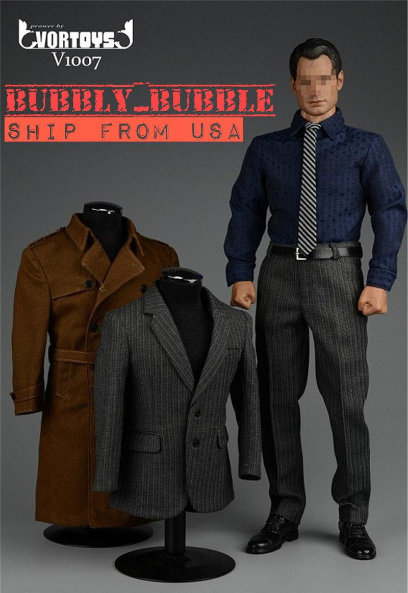 1 6 Piloto Abrigo Traje para súperman Clark Kent ganghood muscular Hot Juguetes Cuerpo Usa