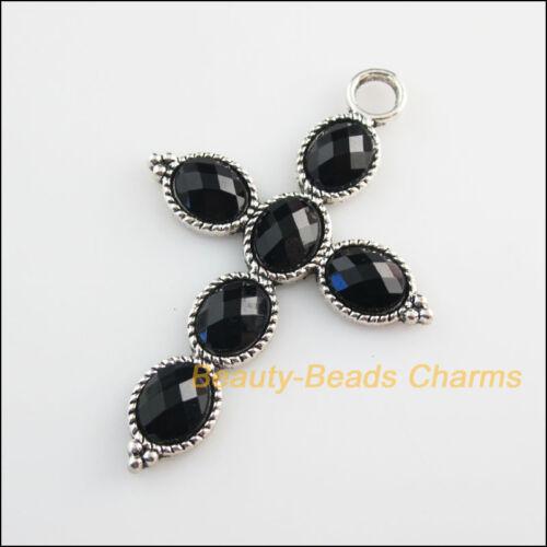 2Pcs Tibetan Silver Tone Black Glass Crystal Cross Charms Pendants 41x61mm