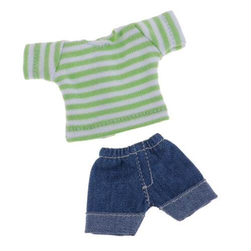 Handmade Casual Two-piece Clothing Short Jeans And Top For Obitsu11 Dolls