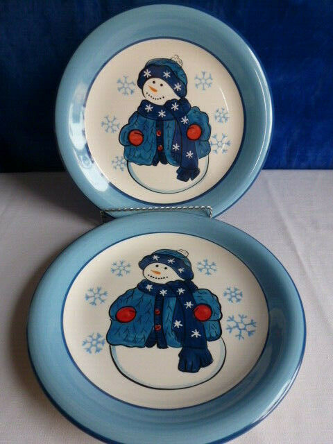 "2 New Libby 10 1/2"" Snowman Plates  No.313"