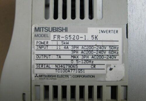 1PCS Used Mitsubishi Inverter FR-S520-1.5K 1.5KW 220V Tested