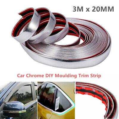 1PC 3M*20mm Car Chrome DIY Moulding Trim Strip For Grille Window Door Bumper