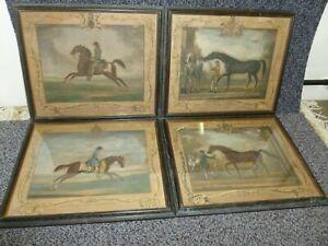 4-x-Antique-Race-Horse-Prints-R-Houston-Fecit-Childers-Babraham-Old-Partner-Whit