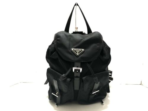 Auth PRADA 1BZ677 Black Nylon & Leather Backpack