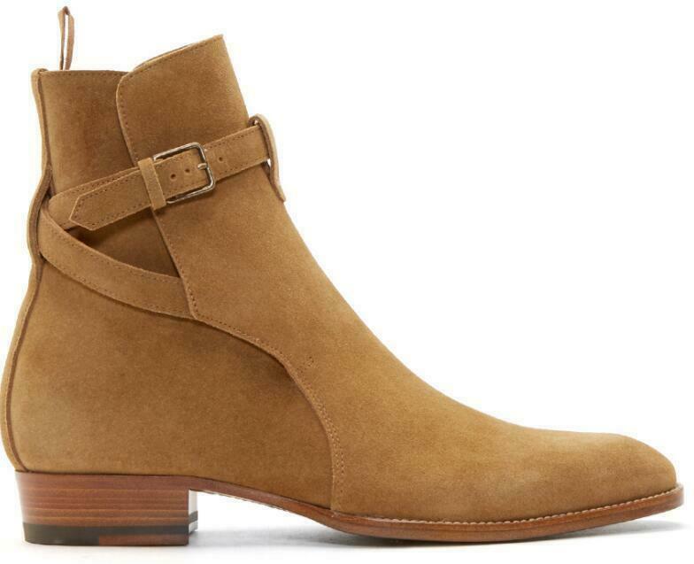 Para Hombre botas al Tobillo Zapatos Chelsea Puntera en Punta Zapatos Hebilla de Cuero Genuino Talla Grande