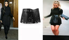 NWT SPECTACULAR MOST WANTED ALAIA BLACK LEATHER FRINGE BELT SKIRT 75 CM SOLD OUT