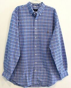 Polo-Ralph-Lauren-Big-and-Tall-Mens-3XLT-Blue-Plaid-Button-Front-Shirt-NWT-3XLT