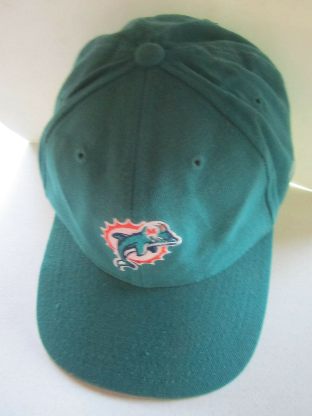 new style 0e043 3f056 ... czech vintage 90s 7 miami dolphins logo athletic fitted cap 7 90s 3 8  dan marino