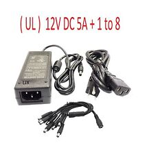 12V DC 5A Power Supply Adapter with 8Port Splitter Security Camera for Night Owl