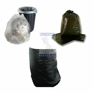 SMALL LARGE RUBBISH REFUSE BAGS SACKS - BLACK CLEAR WHEELIE BIN LINERS - ALL QTY
