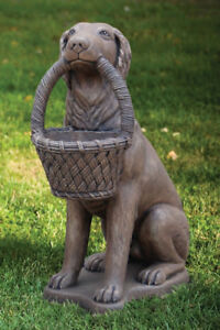 Image Is Loading 32 034 Retriever Dog With Basket Planter Outdoor