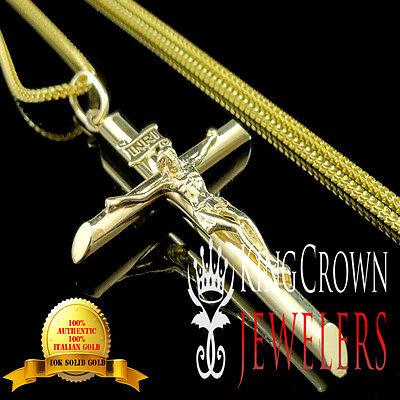 10k Festgelbgold Kruzifix Heilige Jesus Kreuz Anhänger Franco Ketten Set