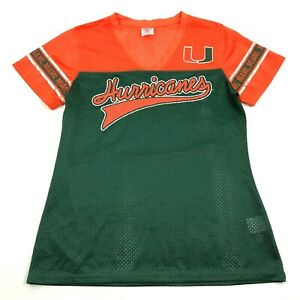 NEW University Of Miami HURRICANES Football Jersey Womens Size M 8/10 Green Top