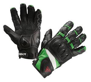 MODEKA-Baali-sportliche-Motorradhandschuhe-schwarz-gruen-Gr-10-XL-NEU-Leder