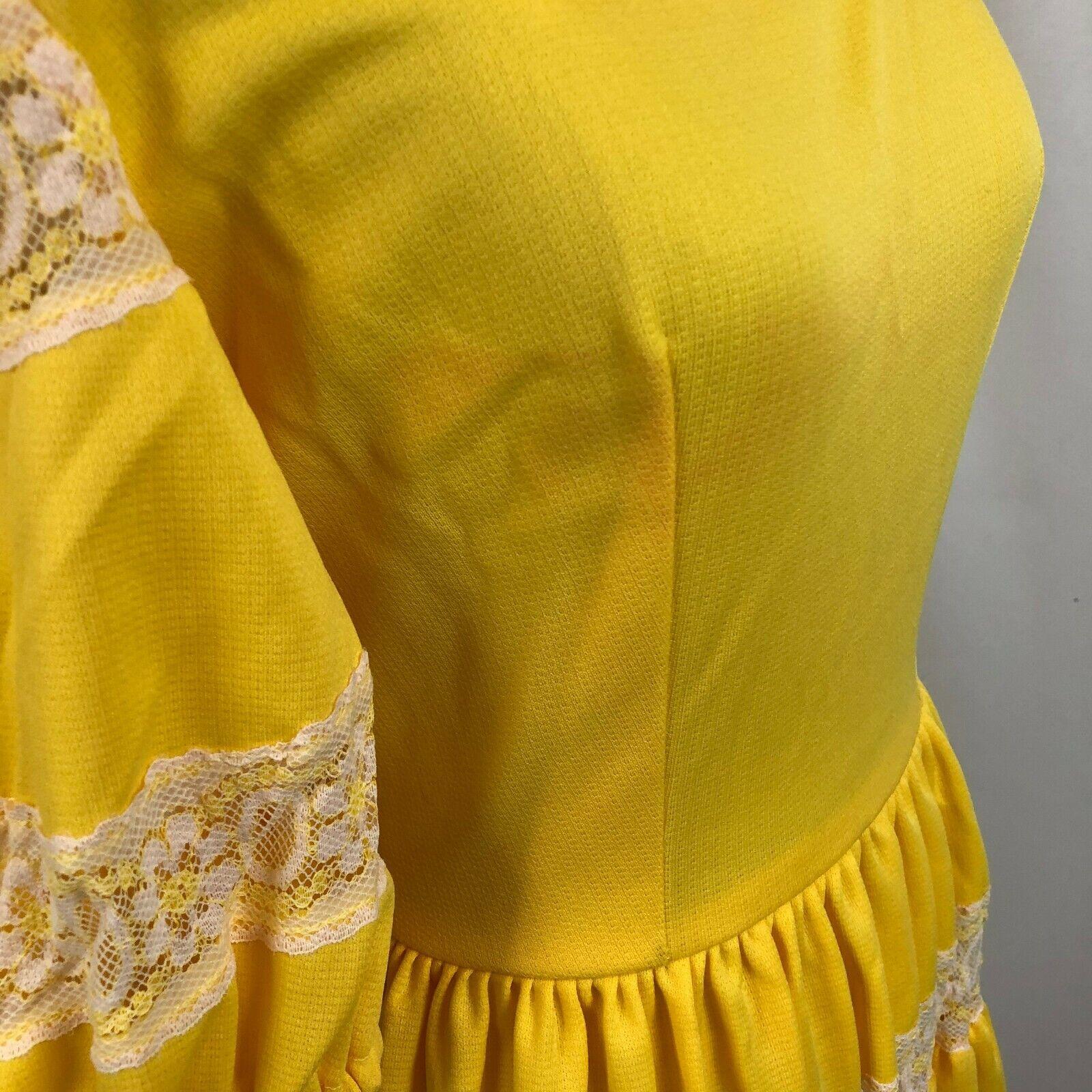 Vintage Lolita Dress Bright Yellow S/M See measur… - image 6