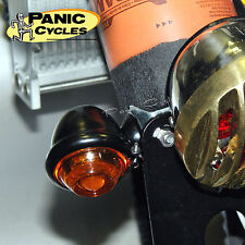 BULLET TURN SIGNAL LIGHTS BLACK/ AMBER OLD HARLEY REPO BOBBER RAT ROD-PAIR